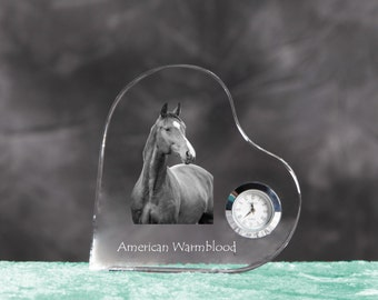 American Warmblood- crystal clock in the shape of a heart with the image of a pure-bred horse.