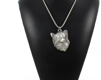 NEW, Chihuahua (longhaired), dog necklace, silver cord 925, limited edition, ArtDog