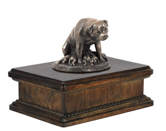 Exclusive Urn for dog's ashes with a Rottweiler mama statue, ART-DOG. New model Cremation box, Custom urn.