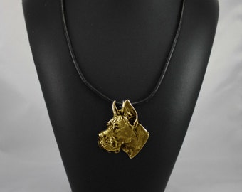 Deutsche Dogge cropped, Great Dane (pointed ears), millesimal fineness 999, dog necklace, limited edition, ArtDog