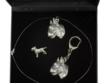 NEW, Bull Terrier, dog keyring, necklace and pin in casket, DELUXE set, limited edition, ArtDog . Dog keyring for dog lovers