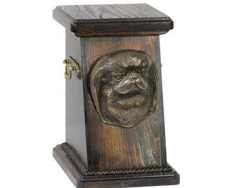 Urn for dog's ashes with a Japan Chin statue, ART-DOG Cremation box, Custom urn. Cremation box, Custom urn.