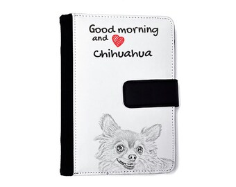 Chihuahua long haired- Notebook with the calendar of eco-leather with an image of a dog! NEW COLLECTION!
