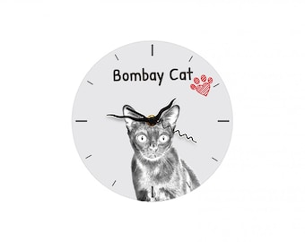 Bombay cat, Free standing MDF floor clock with an image of a cat.