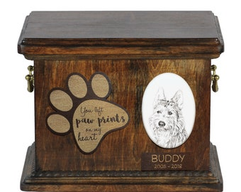Urn for dog's ashes with ceramic plate and description - Berger Picard, ART-DOG Cremation box, Custom urn.
