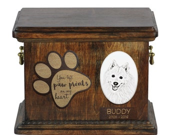 Urn for dog's ashes with ceramic plate and description - Japanese Spitz, ART-DOG Cremation box, Custom urn.