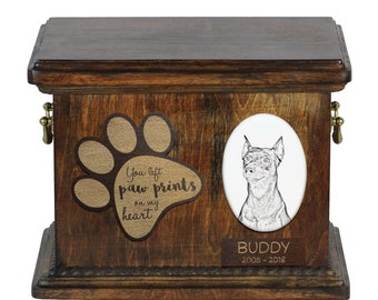Urn for dog's ashes with ceramic plate and description - German Pinscher, ART-DOG Cremation box, Custom urn.