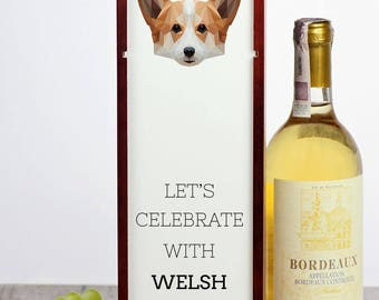 Let's celebrate with Pembroke Welsh Corgi. A wine box with the geometric dog