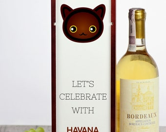 Let's celebrate with Havana Brown cat. A wine box with the cute Art-Dog cat