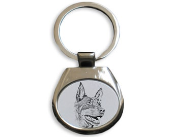 Australian Kelpie - NEW collection of keyrings with images of purebred dogs, unique gift, sublimation . Dog keyring for dog lovers
