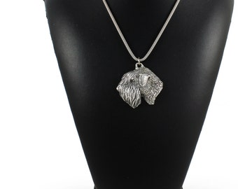 NEW, Soft-coated Wheatan Terrier, dog necklace, silver cord 925, limited edition, ArtDog