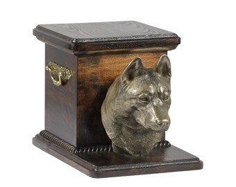 Urn for dog's ashes with a standing statue -Siberian Husky, ART-DOG