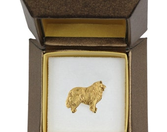 NEW, Collie, dog pin, in casket, gold plated, limited edition, ArtDog