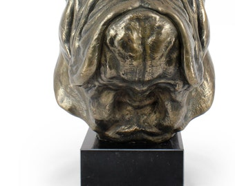 English British Bulldog, dog statue on marble base, limited edition, ArtDog. Made of cold cast bronze. Perfect gift. Limited edition