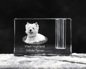 West Highland White Terrier, crystal pen holder with dog, souvenir, decoration, limited edition, Collection