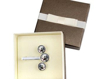 Bedlington Terrier. Jewelry for dog lovers. Cufflinks and tie pin. Photo jewellery. Men's jewellery. Handmade