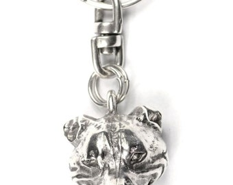 NEW, English Staffordshire Bull Terrier (3D medallion), dog keyring, key holder, limited edition, ArtDog . Dog keyring for dog lovers