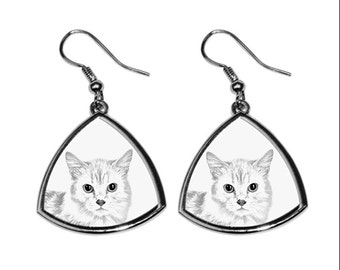 Munchkin, collection of earrings with images of purebred cats, unique gift. Collection!