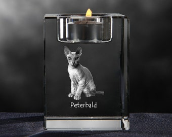 Peterbald, crystal candlestick with cat, souvenir, decoration, limited edition, Collection