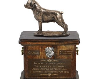 Rottweiler - Exclusive Urn for dog ashes with a statue, relief and inscription. ART-DOG. Cremation box, Custom urn.