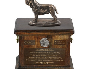 Neapolitan Mastiff - Exclusive Urn for dog ashes with a statue, relief and inscription. ART-DOG. Cremation box, Custom urn.