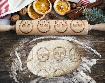 SKULLS. Engraved rolling pin for Cookies, Embossing Rollingpin, Laser Engraved Rolling-pin. Decorating Roller