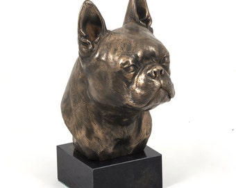 Boston Terrier, dog marble statue, limited edition, ArtDog. Made of cold cast bronze. Perfect gift. Limited edition