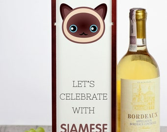 Let's celebrate with Siamese cat. A wine box with the cute Art-Dog cat