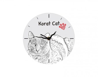 Korat, Free standing MDF floor clock with an image of a cat.