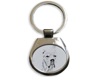 Argentine Dogo - NEW collection of keyrings with images of purebred dogs, unique gift, sublimation . Dog keyring for dog lovers