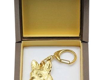 NEW, Basenji, millesimal fineness 999, dog keyring, in casket, keychain, limited edition, ArtDog . Dog keyring for dog lovers