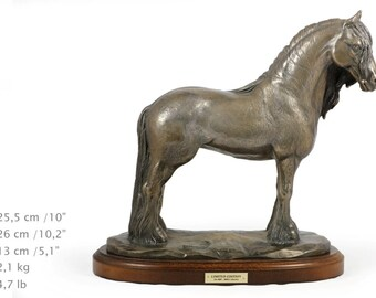 Fresian Horse (mare), horse wooden base statue, limited edition, ArtDog
