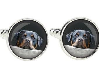 Rottweiler. Cufflinks for dog lovers. Photo jewellery. Men's jewellery. Handmade