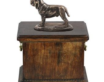 Urn for dog's ashes with a Neapolitan Mastiff statue, ART-DOG Cremation box, Custom urn.