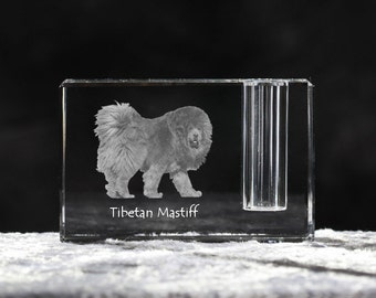 Tibetan Mastiff, crystal pen holder with dog, souvenir, decoration, limited edition, Collection