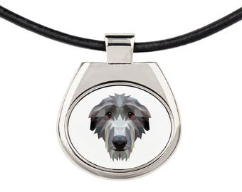 A necklace with a Scottish deerhound dog. A new collection with the geometric dog