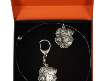 NEW, Dogue de Bordeaux, dog keyring and necklace in casket, PRESTIGE set, limited edition, ArtDog . Dog keyring for dog lovers