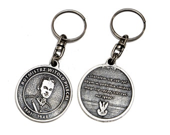 Witold Pilecki - silver plated, patina coated keyring coming in an elegant box.
