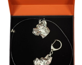 NEW, Deutsche Dogge cropped, Great Dane (pointed ears), dog keyring and necklace in casket, PRESTIGE set, limited edition, ArtDog