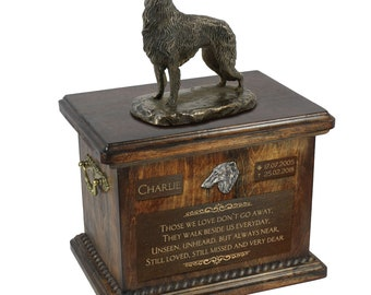 Borzoi - Exclusive Urn for dog ashes with a statue, relief and inscription. ART-DOG. Cremation box, Custom urn.