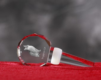 Singapura Cat, Crystal Wine Stopper with cat, Wine and Cat Lovers, High Quality, Exceptional Gift. New Collection