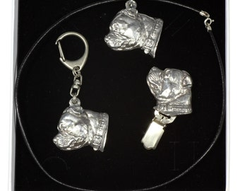 NEW, Staffordshire Bull Terrier, dog keyring, necklace and clipring in casket, ELEGANCE set, limited edition, ArtDog