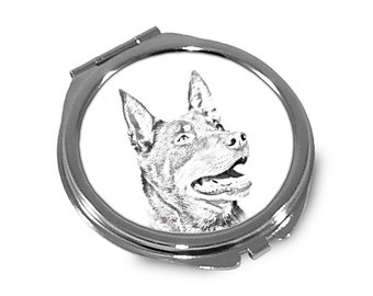 Australian Kelpie - Pocket mirror with the image of a dog.
