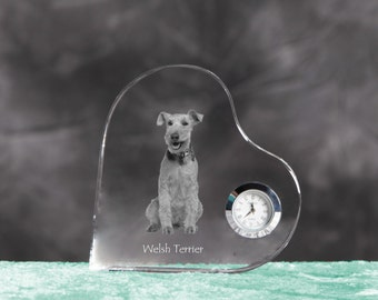 Welsh Terrier- crystal clock in the shape of a heart with the image of a pure-bred dog.