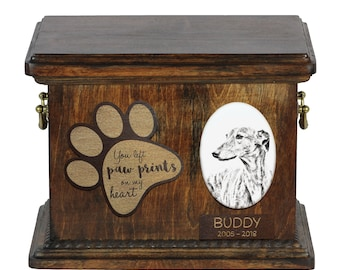 Urn for dog's ashes with ceramic plate and description - Greyhound, ART-DOG Cremation box, Custom urn.