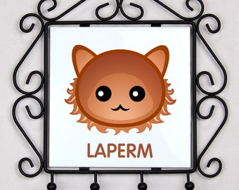 A key rack, hangers with LaPerm cat. A new collection with the cute Art-dog cat
