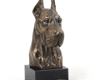 Great Dane (cropped), dog marble statue, limited edition, ArtDog. Made of cold cast bronze. Perfect gift. Limited edition