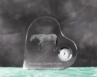 American Quarter Horse - crystal clock in the shape of a heart with the image of a pure-bred horse.