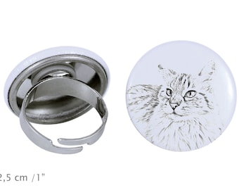 Ring with a cat -Balinese cat