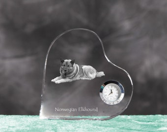 Norwegian Elkhound - crystal clock in the shape of a heart with the image of a pure-bred dog.